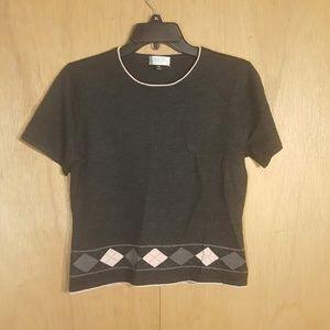 Tahari Women's Size Grey Petite SZ 8P Sweater Top